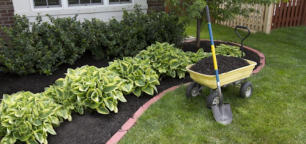 One property home staging technique is to use fresh mulch in garden beds.