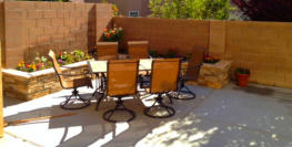 Back yard patio, planter, table