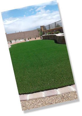 Synthetic lawn, artificial turf in back yard landscaping