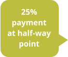 25% payment at half-way point