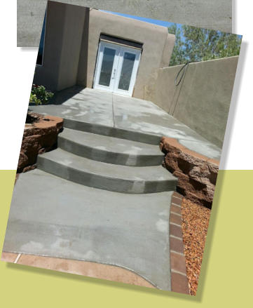 Concrete patio, steps, bordered wtih pavers,  by Rising Sun Landscaping & Maintenance