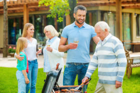 Family cookouts in a landscaped yard are great ways to enjoy your landscaping.
