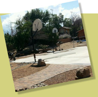 Gathering space, basketball court, paver walkways